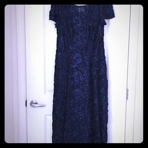 Gown-navy flower embellished